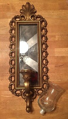 Vtg Smoked Glass Wall Mirror Votive Candle Holder Sconce Gold Dart Syroco Homco