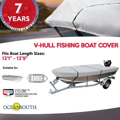 """Heavy Duty 100% Solution Dyed Polyester V-Hull Fishing Boat Cover 12'1"""" - 12'9"""""""
