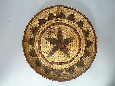 "Native American Weave Basket Tray. Very Nice Design. Approx 8 3/8"" Diameter"