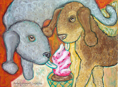 BEDLINGTON TERRIER Eating Ice Cream Pop Folk Dog Art Giclee Print 8 x 10 Signed