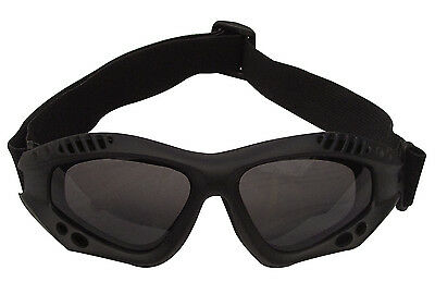 ANSI Rated Black Tactical Safety Goggles w/Smoke Tint Lens UV 400 Protection