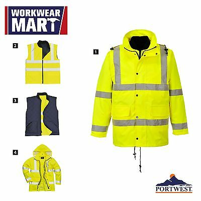 Hi Vis 4-in-1 Rain Jacket High Visibility Reflective Work, Portwest US468