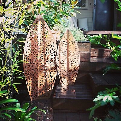 Metal Garden Leaf Sculpture Steel Rust Decorative Laser Cut Free Shipping