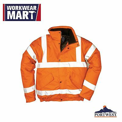 Portwest Hi-Vis Bomber Jacket Orange Reflective Coat Waterproof ANSI URT32