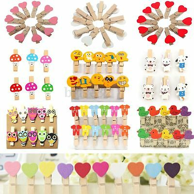 Mini Clothes Clip Clothespin Wooden Pegs Photo Postcard Crafts Party Favor