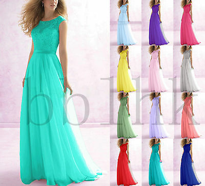New Lace Chiffon Long Evening Party Prom Ball Gown  Bridesmaid Dresses Size 6-18