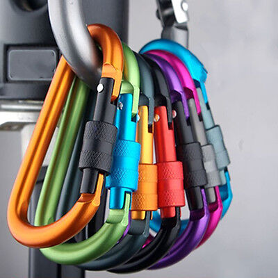 5pcs Outdoor D-Ring Aluminum Screw Locking Carabiner Hook Clip Climbing Keychain
