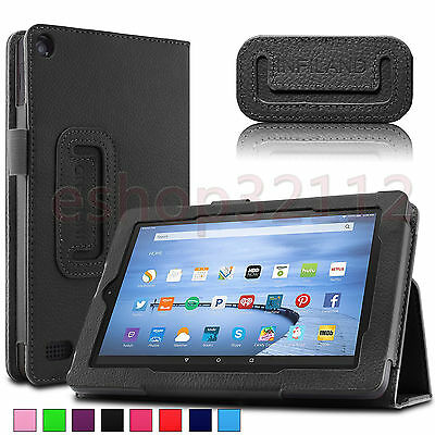 Folio Stand Case Cover For Amazon Kindle Fire 7 5th Gen Tablet