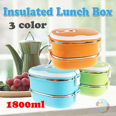 2 Layer Stainless Steel  Lunch Box Bento Food Picnic Container With Handle