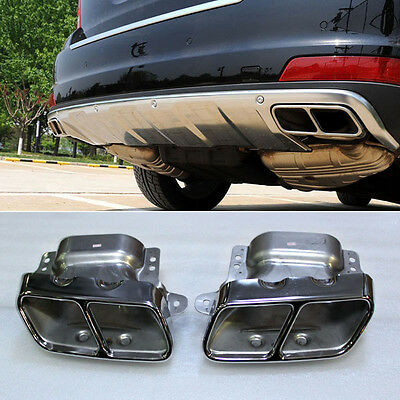 Dual Square Exhaust Muffler Tip Pipe Silencer For Benz S350 S400 S500 S550 S600