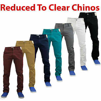New Mens Enzo Chinos Basic Stretch Slim Fit Jeans Trousers Pants Waist Sizes S1