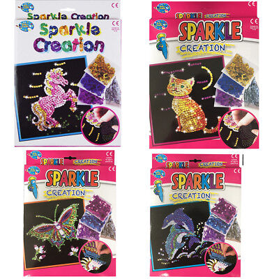 Sparkly Sequins Kids Creative Craft Set Make Your Own Art Dolphin Butterfly Pack