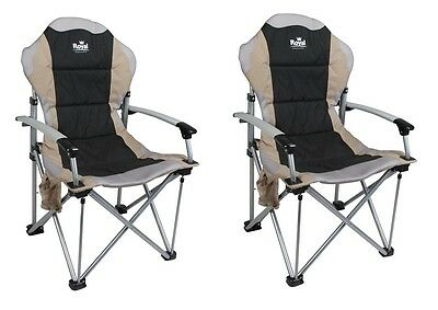 X2 (PAIR) Royal Commander Folding Camping Chair With Carry Bag Solid Arms Black