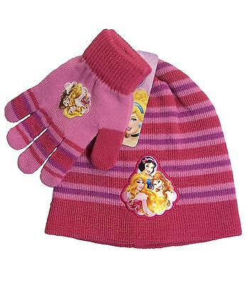 Disney Princess Hat and Gloves Set Fuchsia One Size 4 to 8 Years