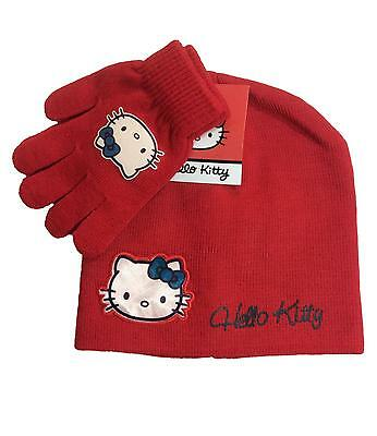 Hello Kitty Hat and Gloves Set Red One Size 4 to 8 Years
