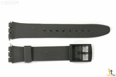 17mm  Dark Gray Soft PVC Replacement  Band Strap fits SWATCH watches w/ 2 Pins