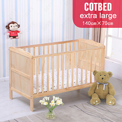 3 In 1 Natural Pine Baby Cot Bed Cotbed Safety Junior Bed
