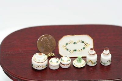 Dollhouse Miniature Ceramic Vanity Set w/ Containers & Tray