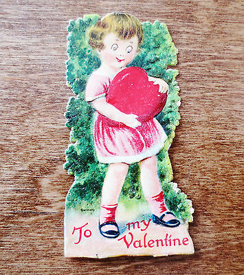 """1920s Valentine's Day Card """"To My Valentine"""" Heart Girl Made in Germany Used"""