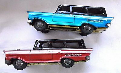 antique Vintage lot 2 Tin Toy Cammuten Pink Turquoise friction Car Japan 50s 60s