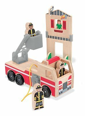 NEW Melissa & Doug Wooden Whittle World Fire Rescue Play Set