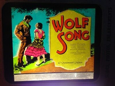 * WOLF SONG 1929 Movie Glass Slide with Gary Cooper & Lupe Velez Victor Fleming