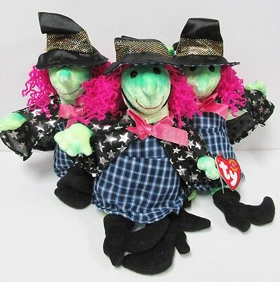 """Ty Beanie Baby """"Scary"""" Cute GREEN FACED Witch Brand New with Mint Tags, PRISTINE"""