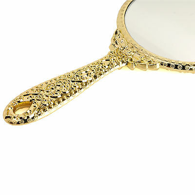 Small Vintage Antique Style Round Gold Hand Held Vanity Makeup Cosmetic Mirror