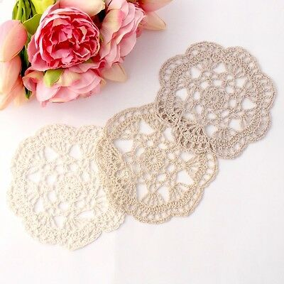 Crochet doilies ivory , ecru and mocha 14-15cm for millinery and crafts