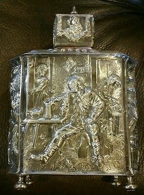 1851 Dutch Silver Tea Caddy Museum Quality Decorated Repousse Genre Scenes