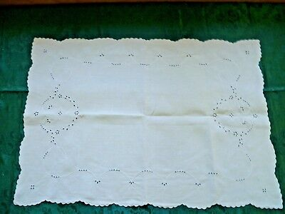 VINTAGE  WHITE WORK EMBROIDERY PILLOW SHAM / TRAY COVER  79 cms x 55 cms
