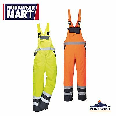 Hi-Vis Bib and Brace High Visibility Waterproof Reflective S-3XL, Portwest S488