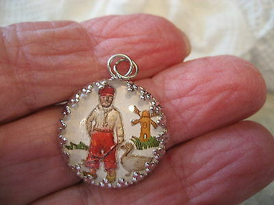 Reverse carved & painted DUTCH BOY, DUCK  and WINDMILL vintage intaglio pendant