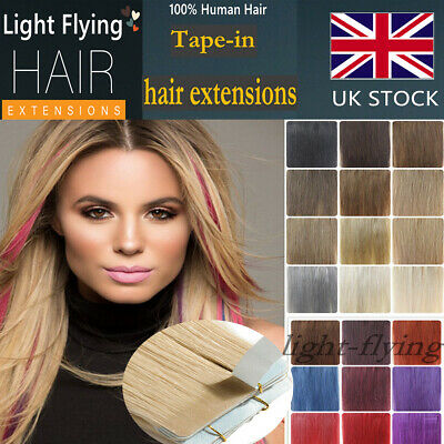 14''-24'' Straight 7A Remy Tape In Skin Human Hair Extensions 20pcs UK Stock