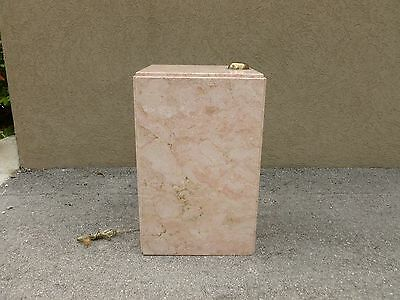 Squat Mid Century 70's  Pink Marble Pedestal W Built In Brass Light # 2 - P