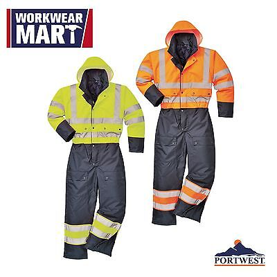 Hi Vis Rain Coverall Lined Work Class 3 Waterproof Reflective, Portwest S485