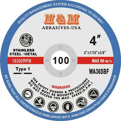 """25 New 4""""x1/16""""x5/8"""" Cut-off Wheels for Stainless Steel & Metal Cutting Disc T27"""