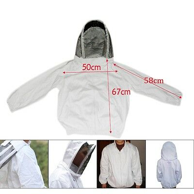 XXL Beekeeping Protect Face Veil Smock Jacket Coat Suit Dress With Hat