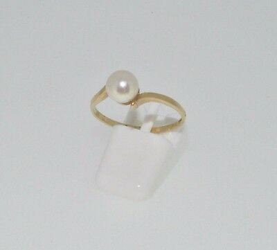 9ct yellow gold single freshwater pearl twist ring size L