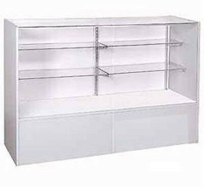 """New Gray Display Case Full Vision with Split glass Shelves 38""""H x 18""""D x 48""""L"""