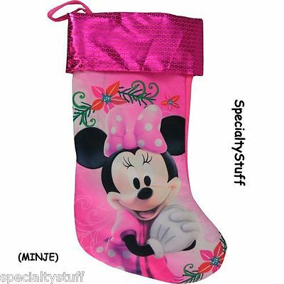 """New Disney Minnie Mouse 18"""" Jersey Christmas Stocking Sequin Printed Cuff (Minje"""