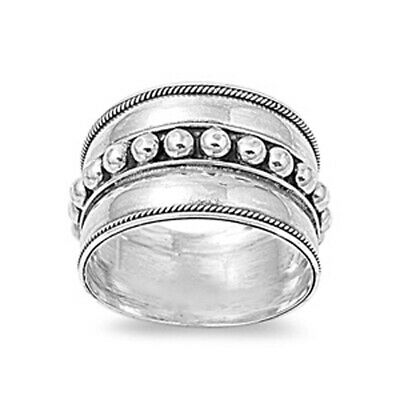 Sterling Silver Woman's Bali Fashion Unique Ring Cute 925 Band 13mm Sizes 5-13