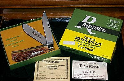 Remington Bullet Trapper R1128 Sterling Silver Bone Stag #3508 Packaging,Papers