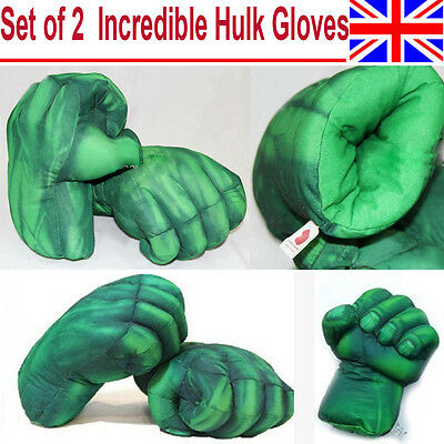 1Pair Incredible Hulk Smash Hands Plush Punching Boxing Type Fist Gloves Gift