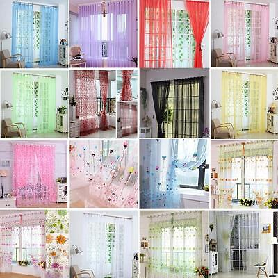 Colorful Floral Flower Sheer Curtain Panel Door Window Tulle Voile Room Divider