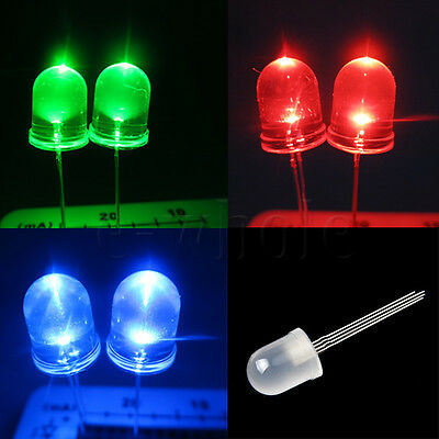 20pcs 10mm 4-pin RGB Diffused Common Cathode LED Tri-Color Red Green Blue EW
