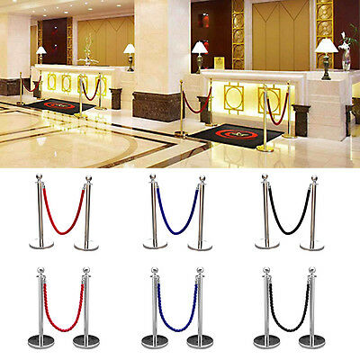 2xPolished Steel Queue Rope Barrier Posts Stands Twisted Rope Stanchion UK