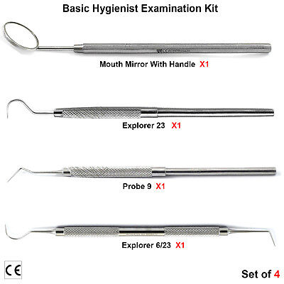 Hygienist Examination Basic Kit Dental Mouth Mirror With Handle Probes Scalers