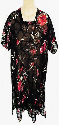"Short Sleeve Black Print Georgette Long Tunic Dress, 52"" Chest, Tr068"
