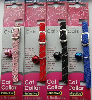 ANCOL REFLECTIVE Softweave Elasticated Cat Collar -Single or Multiple OPTIONS
